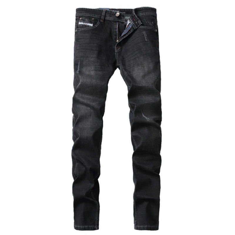 2018 New Mens Jeans Men Straight Solid Color Mid Denim Full Length Pants Top Quality Casual Trousers Brand Male Clothing