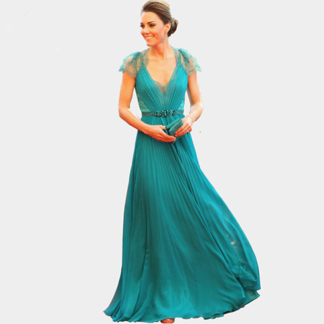 2016 new style Sexy V Neck Cap Sleeves Lace Evening Dresses Kate Middleton  Jenny Packham Green Celebrity Red Carpet Dresses ccc82a3b5be5