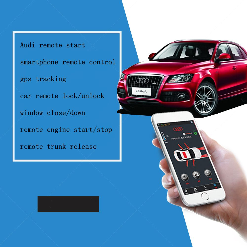 PLUSOBD Car Alarm System Keyless Entry Engine Start Stop With Push Button Start Smartphone App Remote Control For AUDI Q7 08-14
