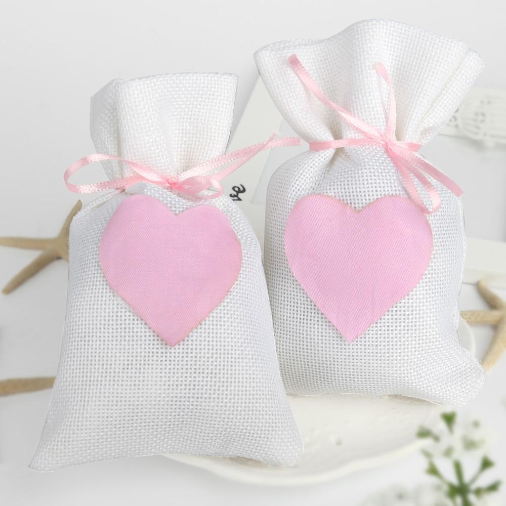 ᐅ9.5x14.5cm Trendy Beige Natural Linen Drawstring Favor Bags Pouch ...
