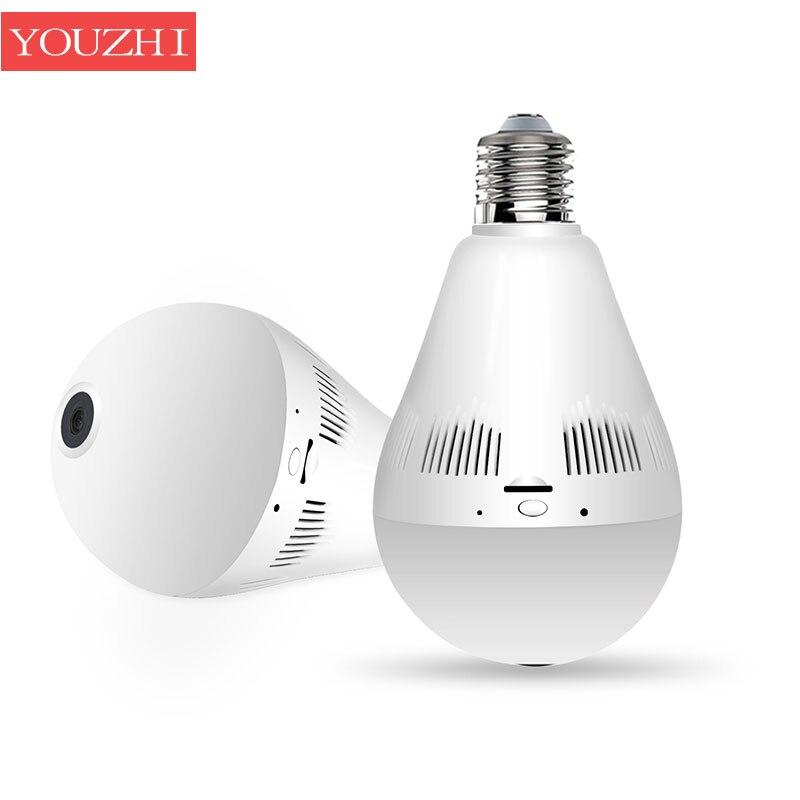 Mini Lamp Bulb Light IR and white led WiFi 960P Fisheye 3MP Wireless IP Camera 360 Degree 1.3mp Panorama Support 128GB TF Card 960p 1 3mp 360 degree panorama camera wireless intercom ip camera