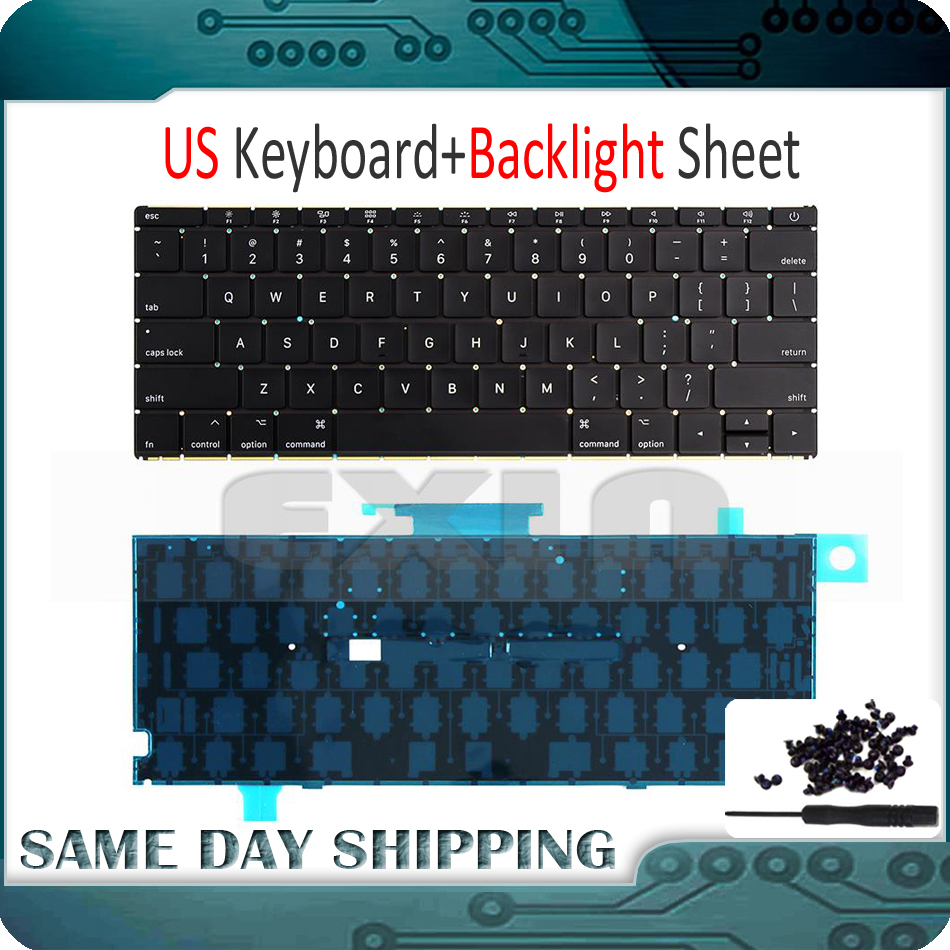 Mid 2017 Year New A1534 US English Keyboard w/ Backlight Backlit +Screws for Macbook 12 A1534 US USA Keyboard MNYF2 MNYG2 early 2016year new original a1534 for macbook 12 a1534 sp spain spanish keyboard without backlight backlit emc 2991