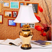 Ceramic Lamp Bedroom Bedside Lamp Light Classical Gold Generals Cans Software Installed Den Table Lamps OLU