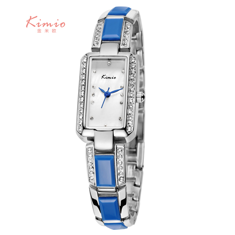 KIMIO Rectangle Rhinestone Imitation Ceramic Bracelet Ladies Quartz Watch 2018 Luxury Brand Women Wrist Watches For Women Dress chic golden hollow rounded rectangle hasp bracelet for women