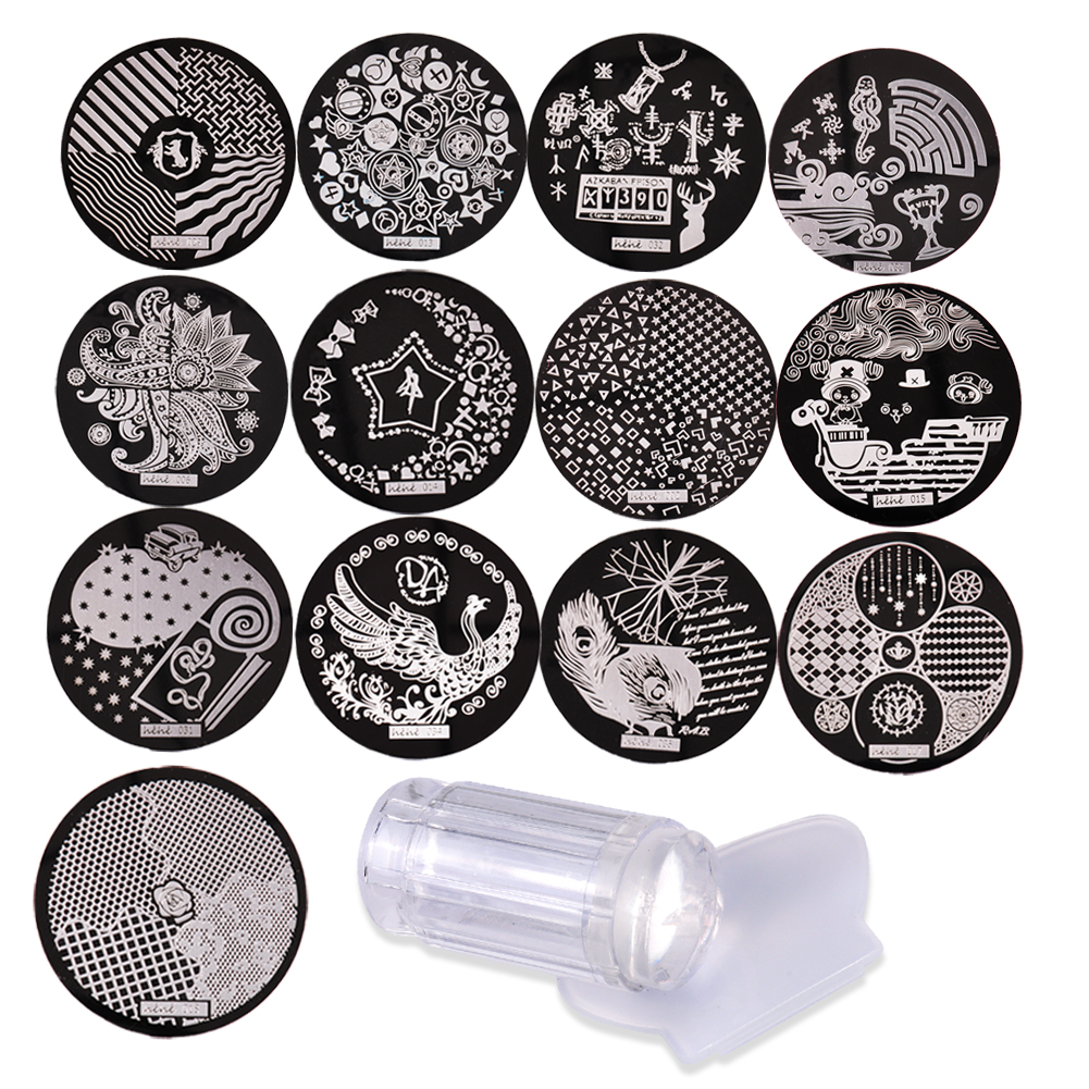Nail Art Stamping 13 unids de Acero Inoxidable Placas de la Imagen y Clear Jelly