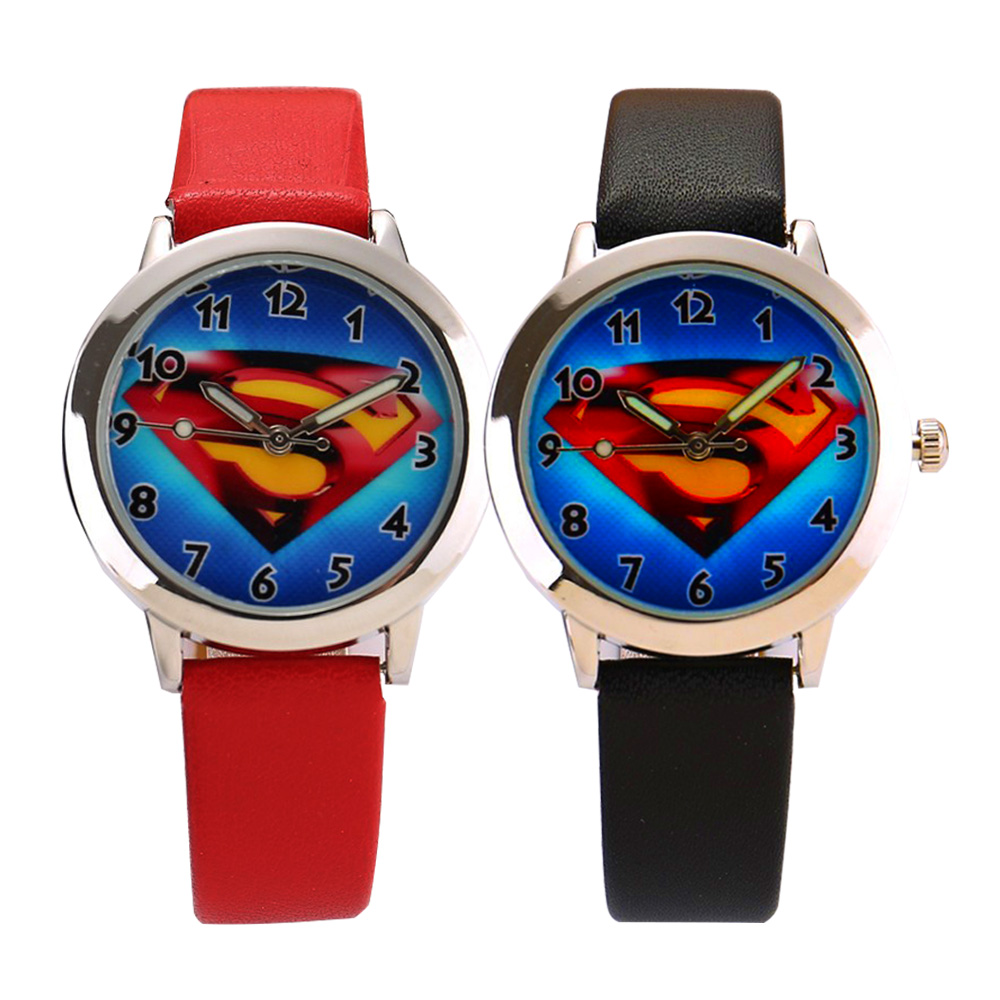 Black Red Couple Watches Tables Fashion Superman Cartoon Analog Big Dial Men Women Silicone Lover's' Watch Dress Clock