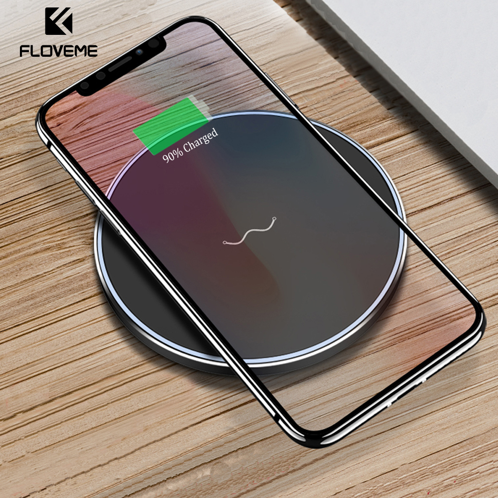 Floveme cargador inalámbrico Qi para el iPhone x 8 más 9 V/1.67A carga rápida cargador inalámbrico para Samsung S8 s9 Nota 8 5 S7 S6 borde