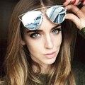 HapiGOO Oval Flat Top óculos de Sol Do Espelho Do Vintage Da Moda Das Mulheres Dos Homens de Moda de Luxo Da Marca Designer Feminino Óculos de Sol de Grandes Dimensões