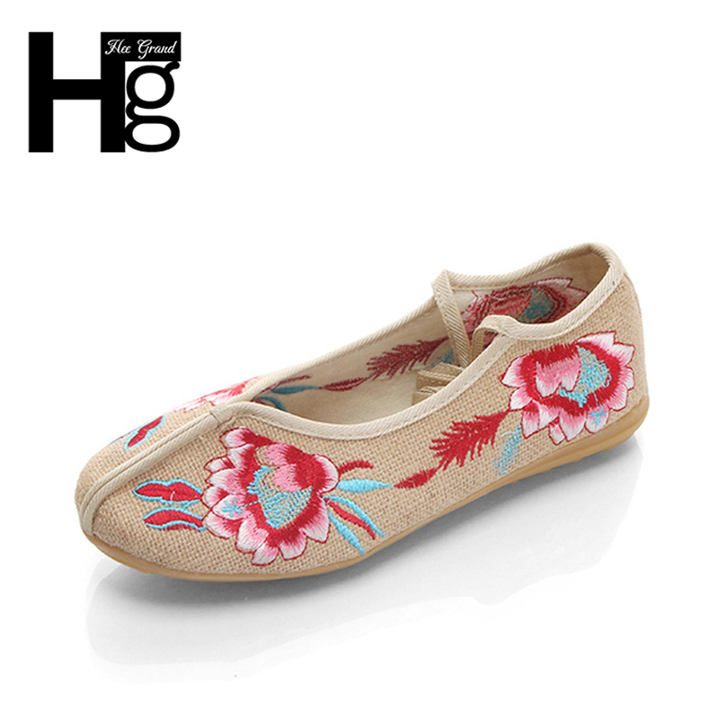 HEE GRAND Chinese Style Traditional Women's Loafers Lotus Flower Flat Shoes for Fat Plus Size 35-40 Woman XWX5987 shoulder cut plus size flower blouse