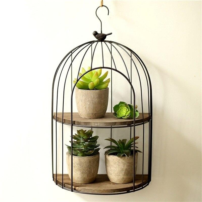 Rétro fer balcon oiseau cage étagère, mur fleur étagère mur décoration étagère, bureau Mini étagère pour les cosmétiques et les plantes en pot