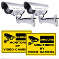 2 Pack Dummy Fake Surveillance CCTV Home Security Bullet Camera with LED Light