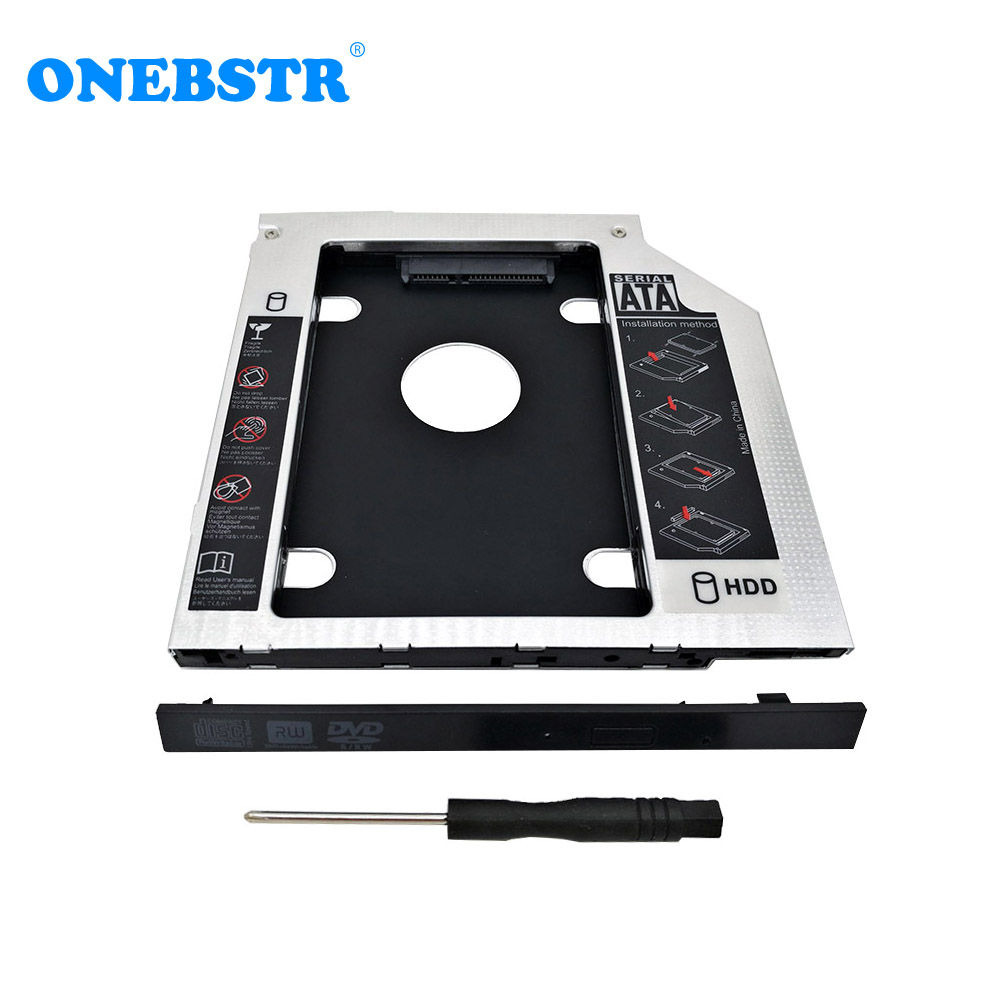 Universal Second 2.5'' HDD/SSD Caddy 9.5mm SATA To SATA Hard Drive Adapter For Laptop CD DVD Optical Drive Bay zheino sataiii 256gb ssd with aluminum 12 7mm caddy laptop sata ssd hdd frame caddy adapter bay cd dvd rom optical for laptop
