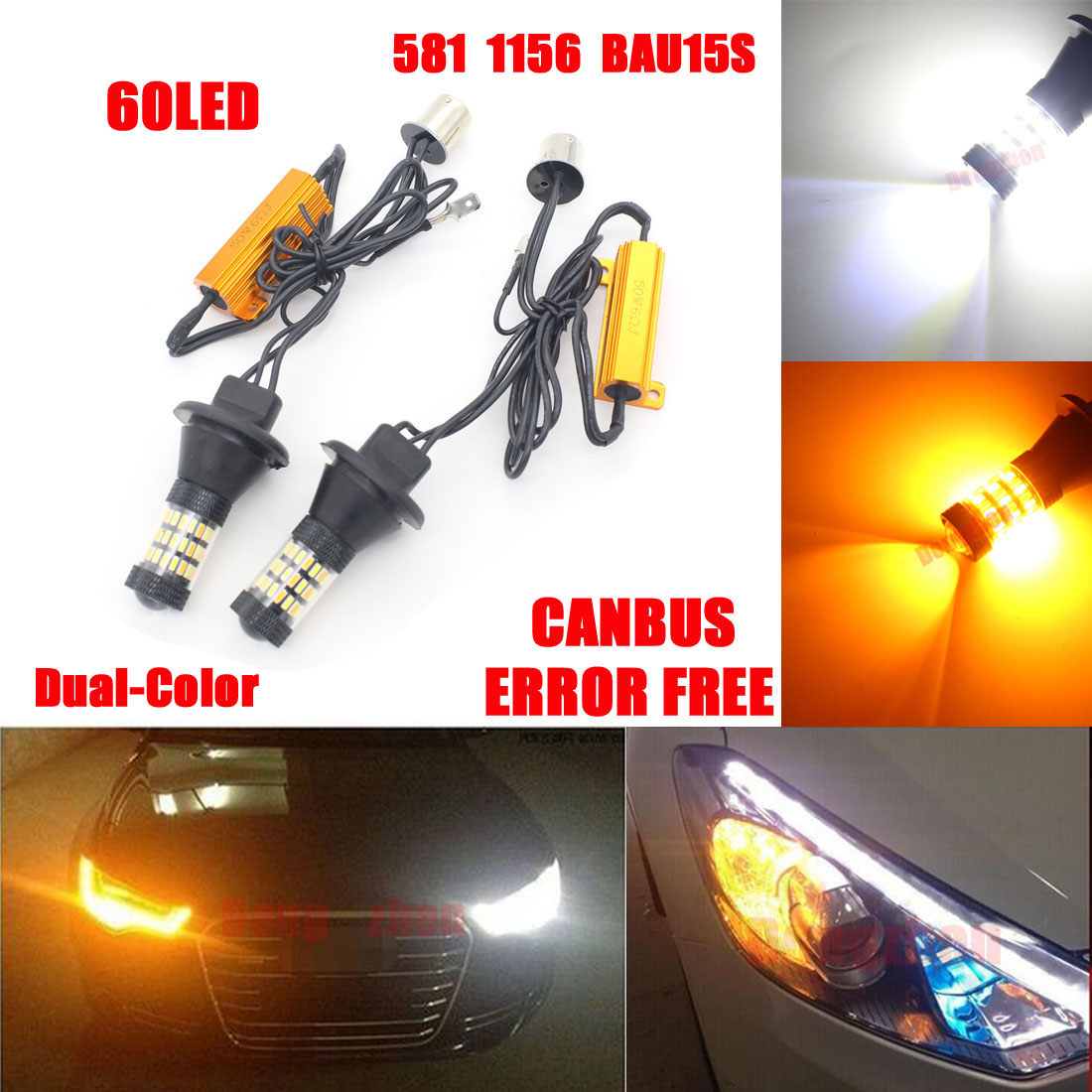 Dongzhen Headlight Daytime Running Light DRL 1156 BAU15S Car 60 LED Bulbs Fog Lamp Switchback Led Turn Signal Light Kit 2pcs 2pcs bau15s py21w cob car led daytime running light turn signal light yellow amber bulb backup light