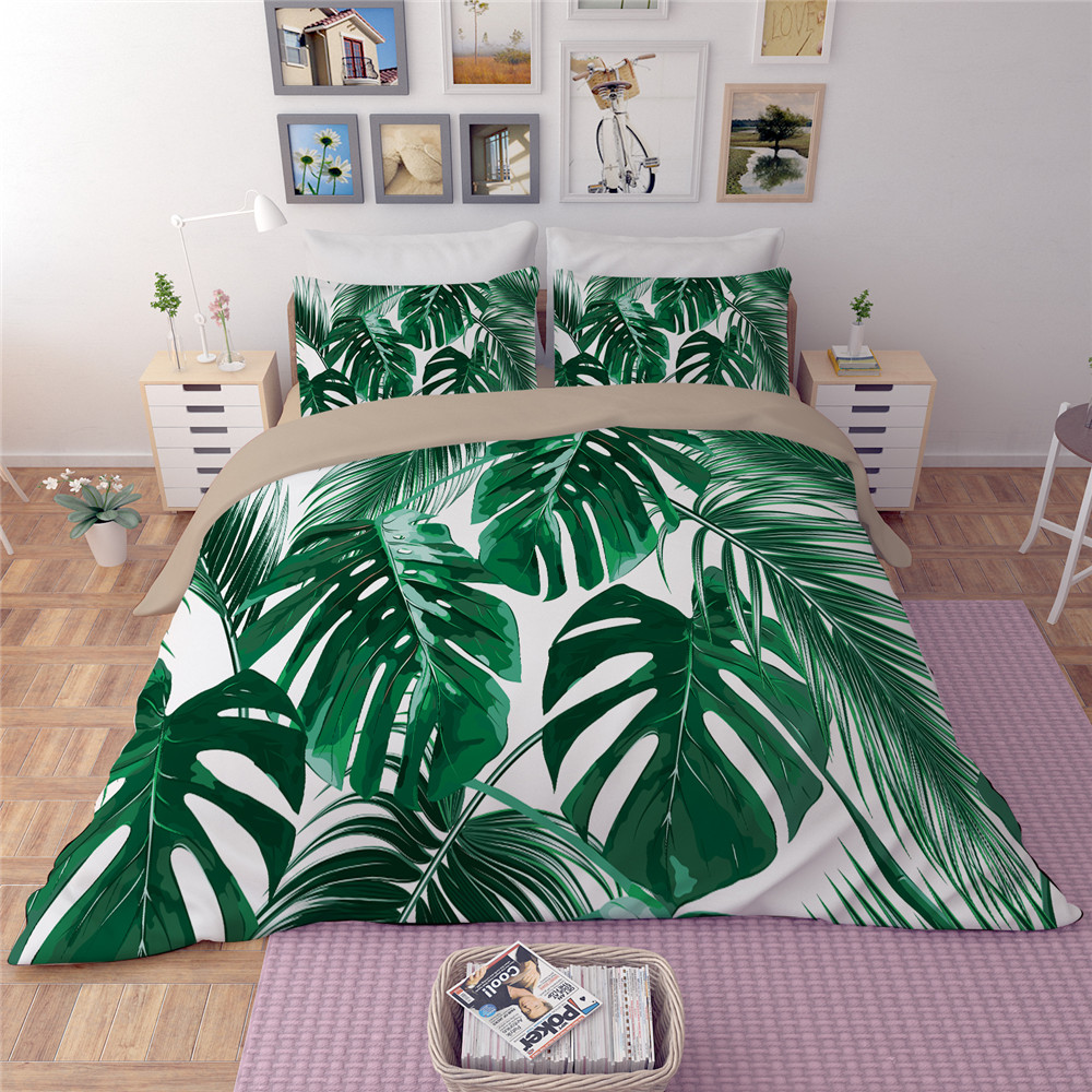 White Green leaves Bedding Sets Plant Twin Queen king Size Quilt Duvet Doona Cover Bed Sheet