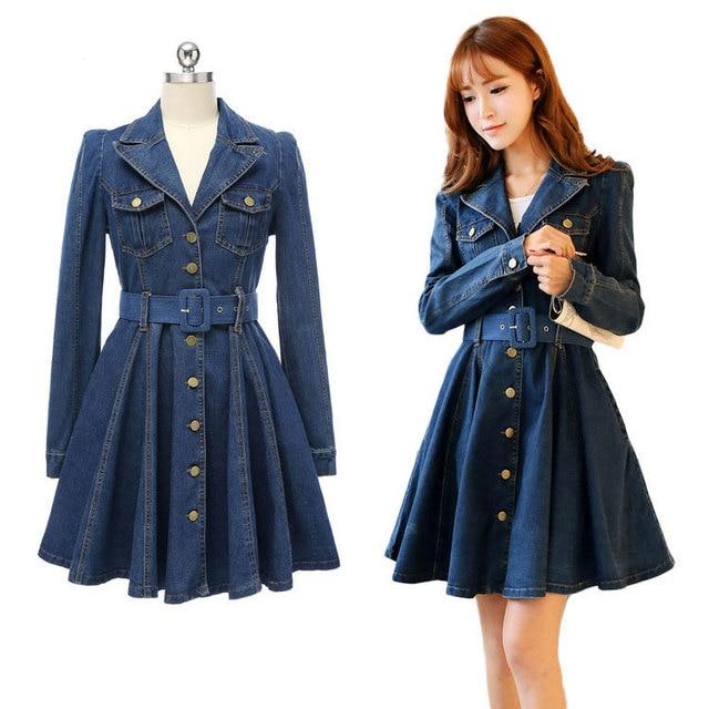 ec0fe48239aa Plus size Women Vintage Jeans Dress Spring Autumn Long Sleeve A-Line Blue Denim  Dresses Ladies Slim Clothing Female L 5149