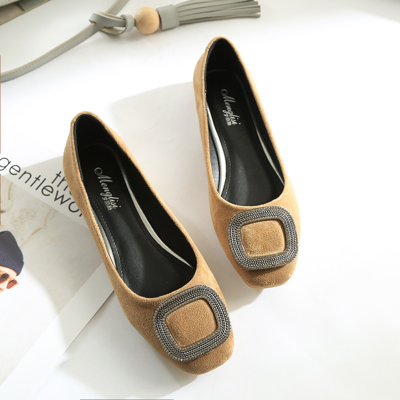 Flats Rhinestone Square Buckle   Suede     Leather   Wedding Shoes Square Toe Slip-on Flat Boat Shoes Casual Loafers Plus Size 34~43