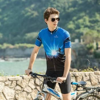 ILPALADINO Men's Upper Fabric Blue Pinnacle Bike Jersey Bike Match Clothes Bicycle Gear Summer Short Sleeve Jersey