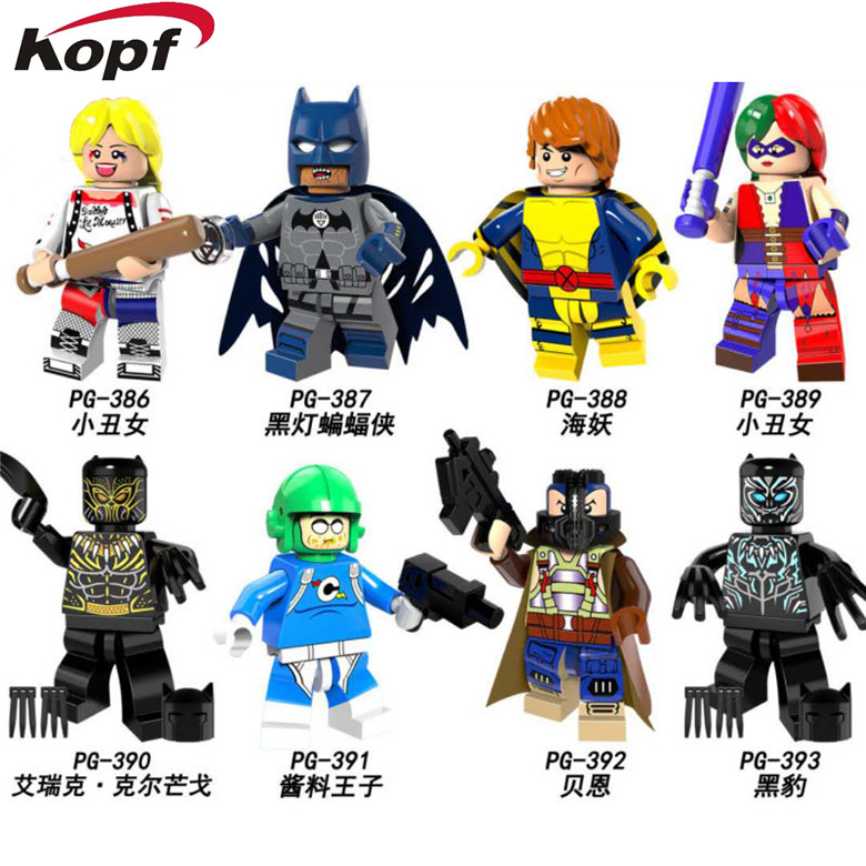 PG8100 Super Heroes Harley Quinn Bane Black Lantern Batman Panther Building Blocks Learning Bricks Action For Children Gift Toys building blocks super heroes back to the future doc brown and marty mcfly with skateboard wolverine toys for children gift kf197