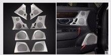 Двери автомобиля аудио Динамик чистой отделкой наклейки 4 шт. для Volvo S90 2015-18 дверь из нержавеющей стали подлокотник Рог крышка отделка