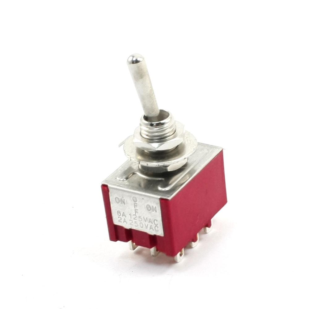 AC250V 2A  AC125V 6A 9 Pin 3-Positions ON/OFF/ON 3PDT Toggle Switch Latching MTS-303 on off on 3 positions 4pdt 12 pin terminal rocker type toggle switch ac 250v 2a mts 403