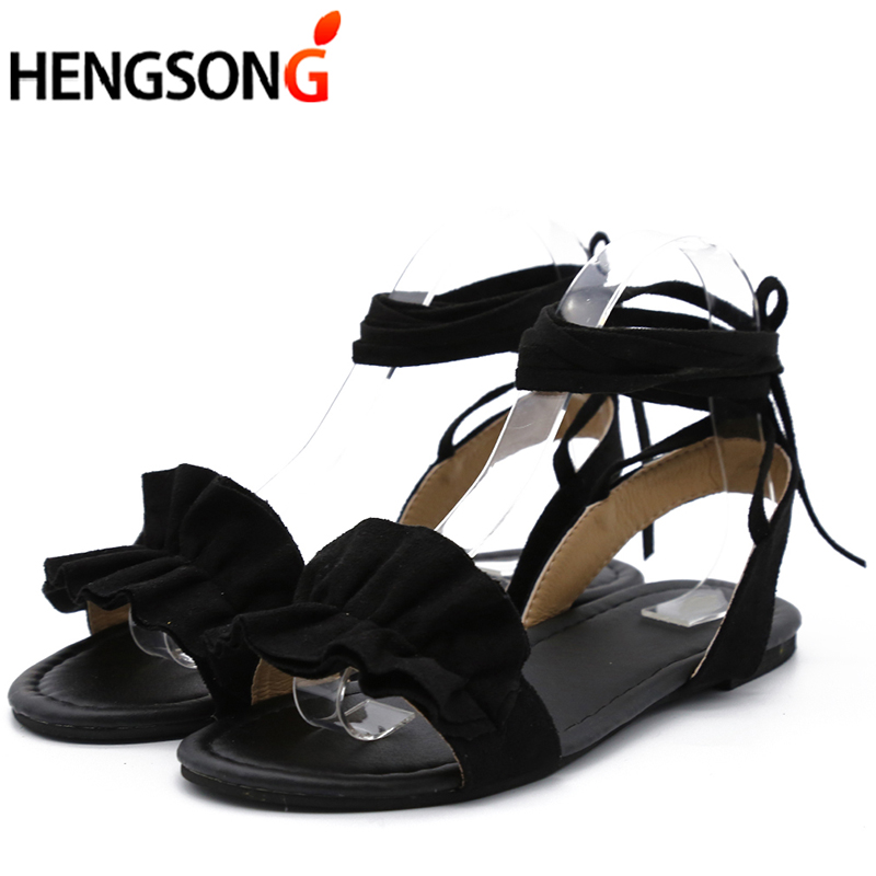 Plus Size Women's Sandal Ruffles Shoes Woman Cross Bandage Sandals Summer Shoes Flats Lace-up Ankle Strap Sandalias Mujer 2018