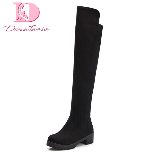 DoraTasia 2018 Büyük Boyutu 34-43 Tıknaz Topuklar Kadın Boots ayakkabı Diz Üzerinde Yüksek Çizmeler Eğlence Üzerinde Kayma moda ayakkabılar Kadın
