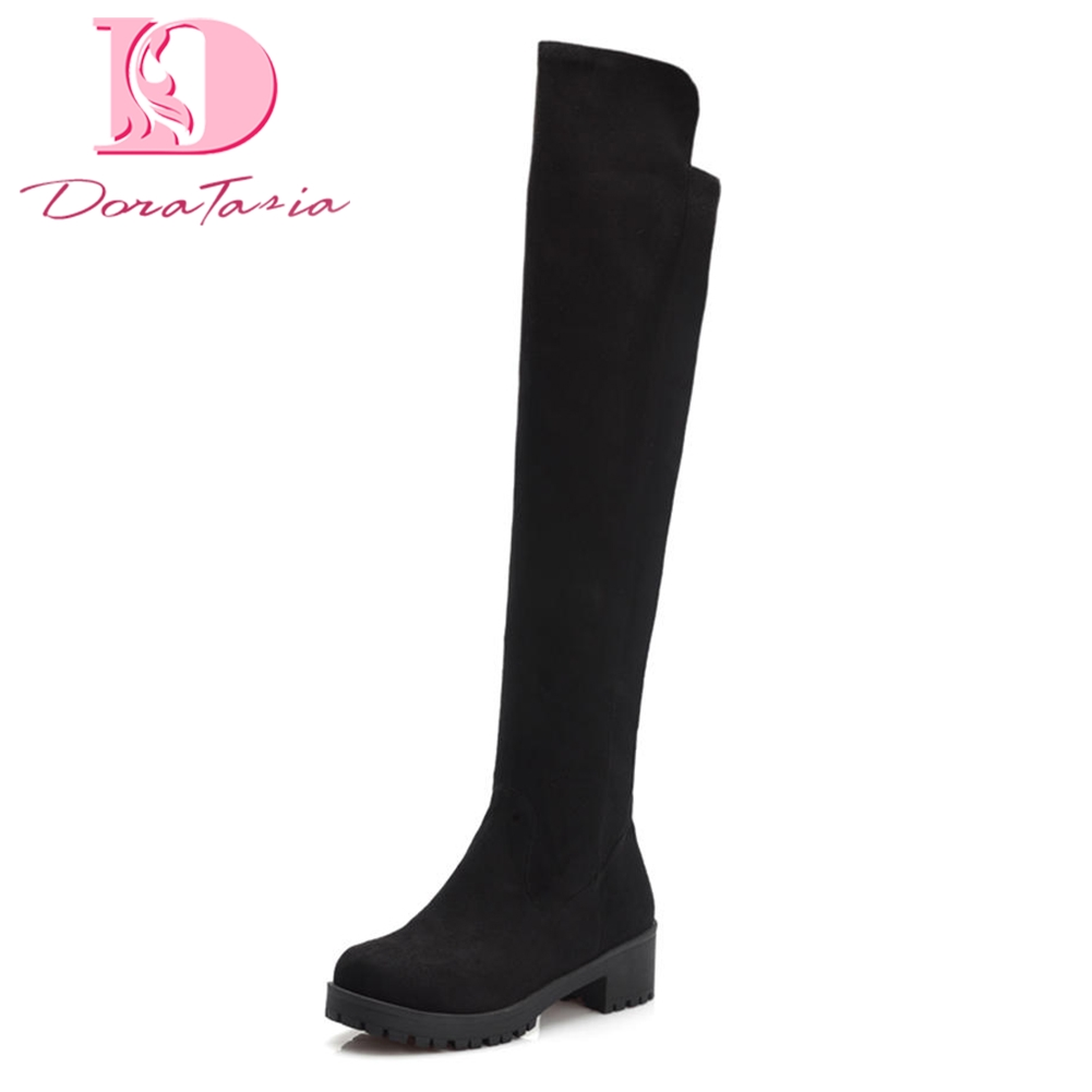 DoraTasia 2018 Large Size 34-43 Chunky Heels Women Boots shoes Slip On Over The Knee High Boots Leisure fashion Shoes Woman memunia big size 34 43 over the knee boots for women fashion shoes woman party pu platform boots zip high heels boots female