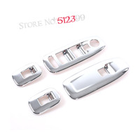 4 Pcs Set ABS Chromed Car Interior Decoration Door Window Switch Cover Trims For LHD For