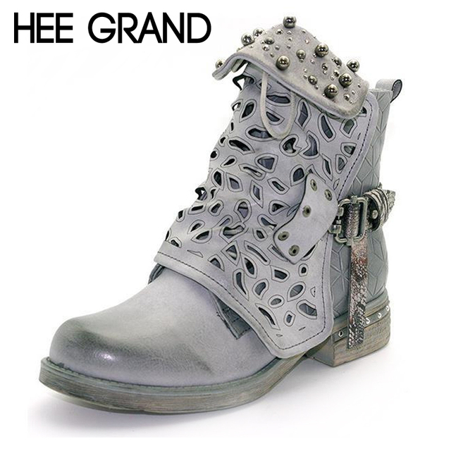 4c3c303f2d US $19.99 50% OFF|HEE GRAND Women Rhinestone Winter Motorcycle Boots Rivet  Buckle Strap Ankle Western Boots Cowboy Round Toe Women Shoes XWX6841-in ...
