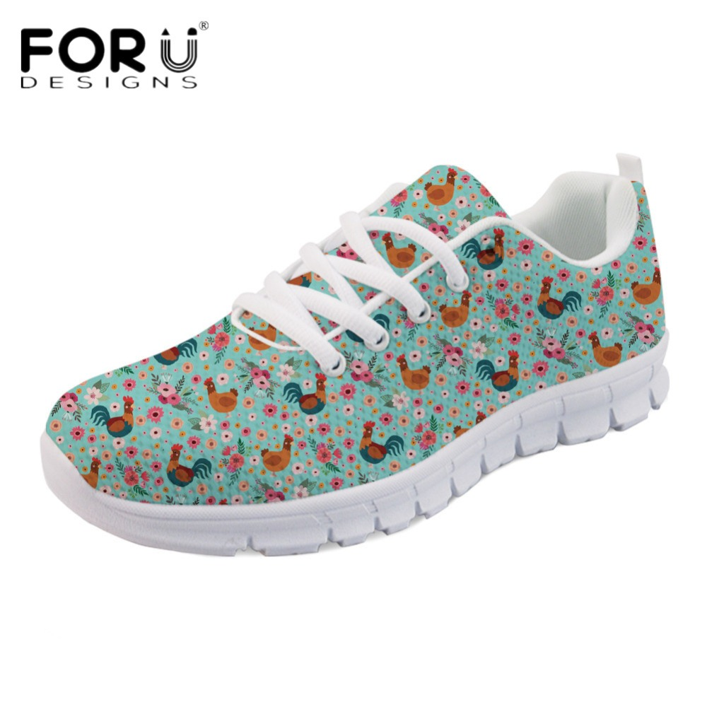 FORUDESIGNS Chicken Flower Printed Light Lace Up Women Sneakers Flats Fashion Girls Comfortable Spring Sneakers Breathable Shoes instantarts leisure women mesh flats shoes cute arabian horse flower print girls flats shoes breathable light lace up sneakers