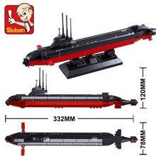 Sluban 193 Pcs B0391 SUBMARINO NUCLEAR Modelo de navio de Guerra Da Marinha Do Exército DIY Tijolos Blocos de Construção de Brinquedos de Presente Compatível com Legoe