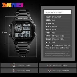 Image 5 - SKMEI Top luxe Sport Horloge Mannen Lichtgevende 5Bar Waterdichte Horloges Roestvrij Stalen Band Digitale Horloge Relogio Masculino 1335