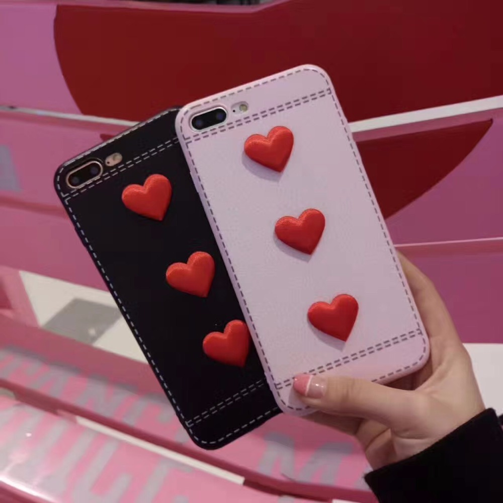 Luxury Hard Frosted PC+Leather Cover for iphone 6 6s 6Plus 6s Plus Loving Heart Phone Case for iphone 7 7Plus With 3dHeart Logo