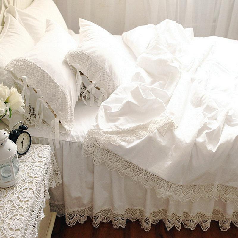 White Lace Princess Bedding Sets Luxury 4pcs Ruffles