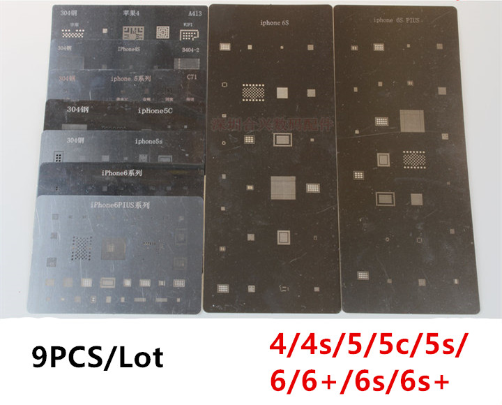 9pcs/lot ! high quality full set BGA Reballing Stencil dedicate kit for iPhone 4 4s 5 5s 5c 6 6+ 6s 6s+ ,Free Fast Shipping