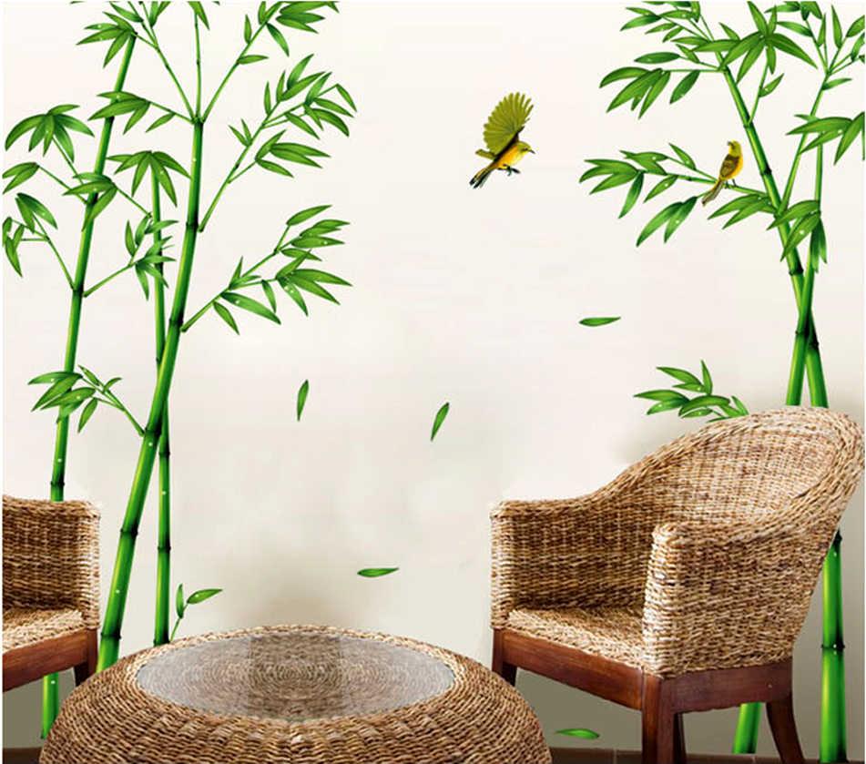 Съемный зеленый бамбуковый лес глубины стены стикеры творческий Китайский стиль DIY Дерево домашний декор наклейки для гостиной украшения