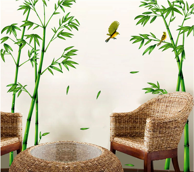 Removable Green Bamboo Forest Depths Wall Sticker Creative Chinese Style DIY Tree Home Decor Decals for Living Room Decoration