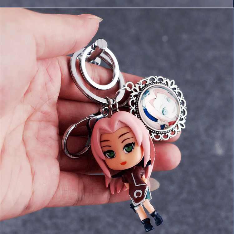 Аниме Наруто Какаши Сакура Брелок с фигуркой сасуке фигурка Коллекция Модель игрушки на цепочке для ключей с металлической коробкой