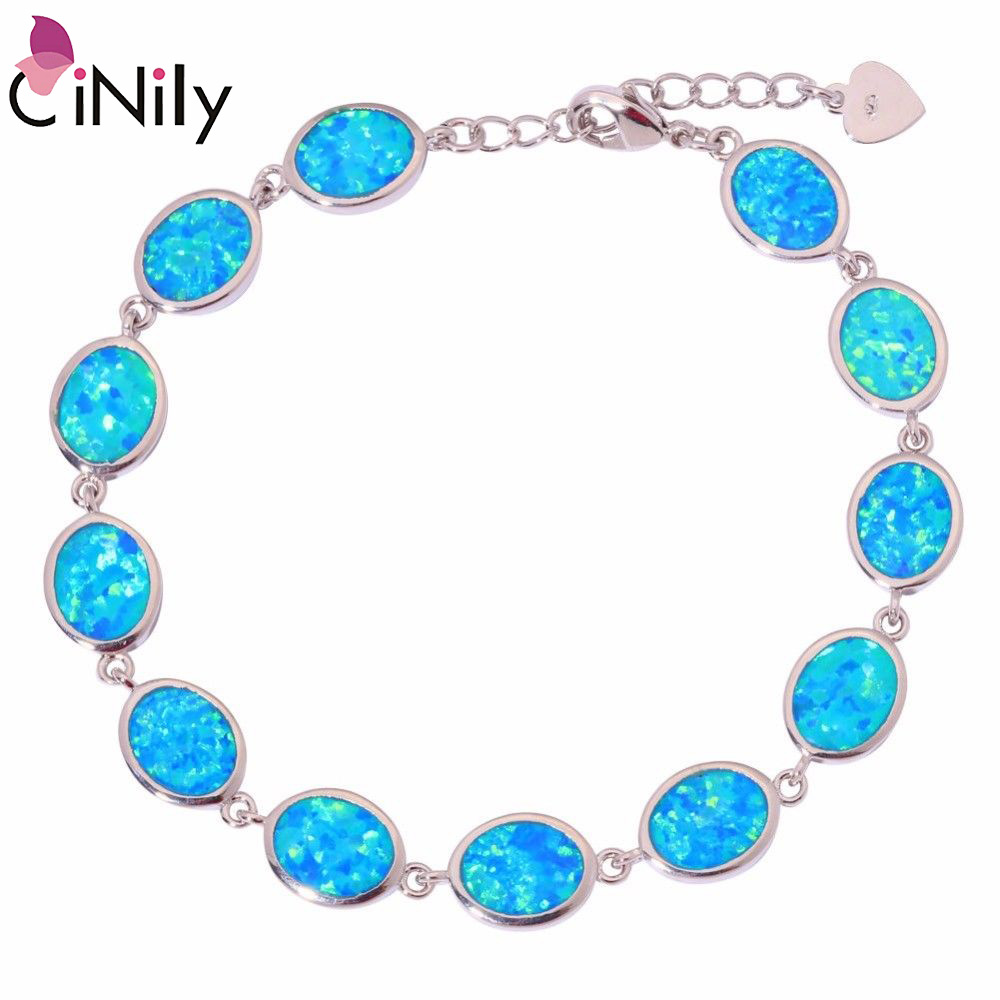 CiNily White Orange Blue Fire Opal Stone Chain Link Bracelets & Bangles Silver Plated Bohemia Boho Summer Party Jewelry Woman