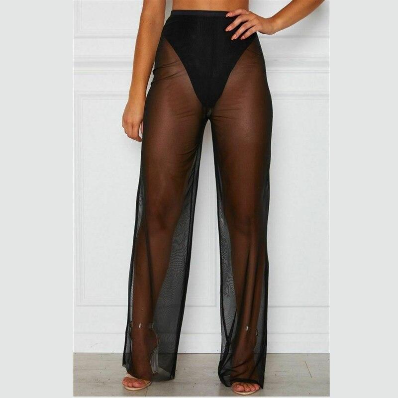 Women Summer Beach Mesh Sheer Femmes Fashion High Waist Sexy Pant Ladies Flared Trousers 2 Colours See Through Long Trousers New