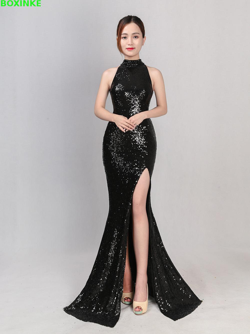 Plus Size Real Empire Summer Stand Sequined Dress 2018 New Split Long Neck Hanging Fish Party Sexy Sequin Slim Hosted Car Club