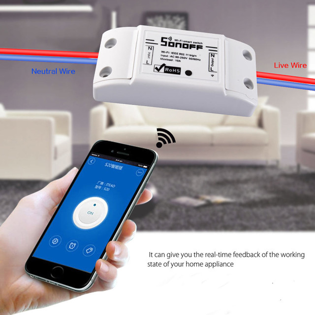 4,99 Sonoff 220 v Control inalámbrico Wifi interruptor inteligente hogar automatización inteligente Centro inalámbrico para luz 10A/2200 W SIM