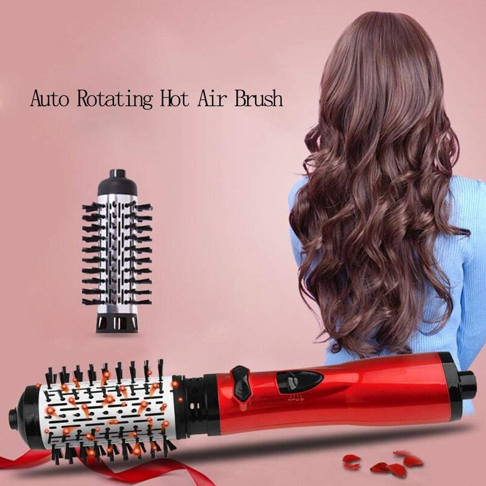 New Electric Brush Automatic Curly Hair Comb 2 In 1 Hair Straightener Roller Curling Rotating Iron Brush One Step Curler Brush in Curling Irons from Home Appliances