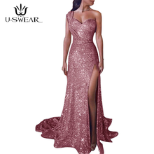 U-SWEAR 2019 Fashion Sexy Strapless Sleeveless Evening Party Prom Formal Gowns Long Tail Sequin Dresses Vestidos Robe De Soiree