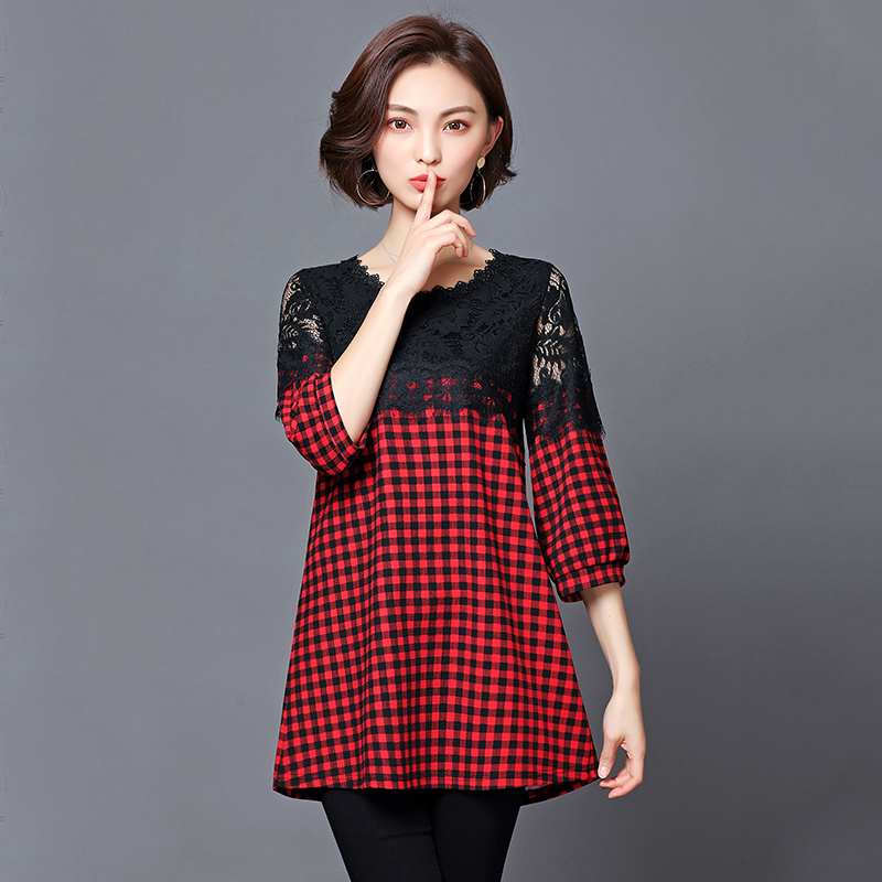 2018 Spring Casual Women Plaid Shirt Blouse With fashion Lace Patchwork Basic Shirt Tops Plus Size 5XL Korean Style T83201C