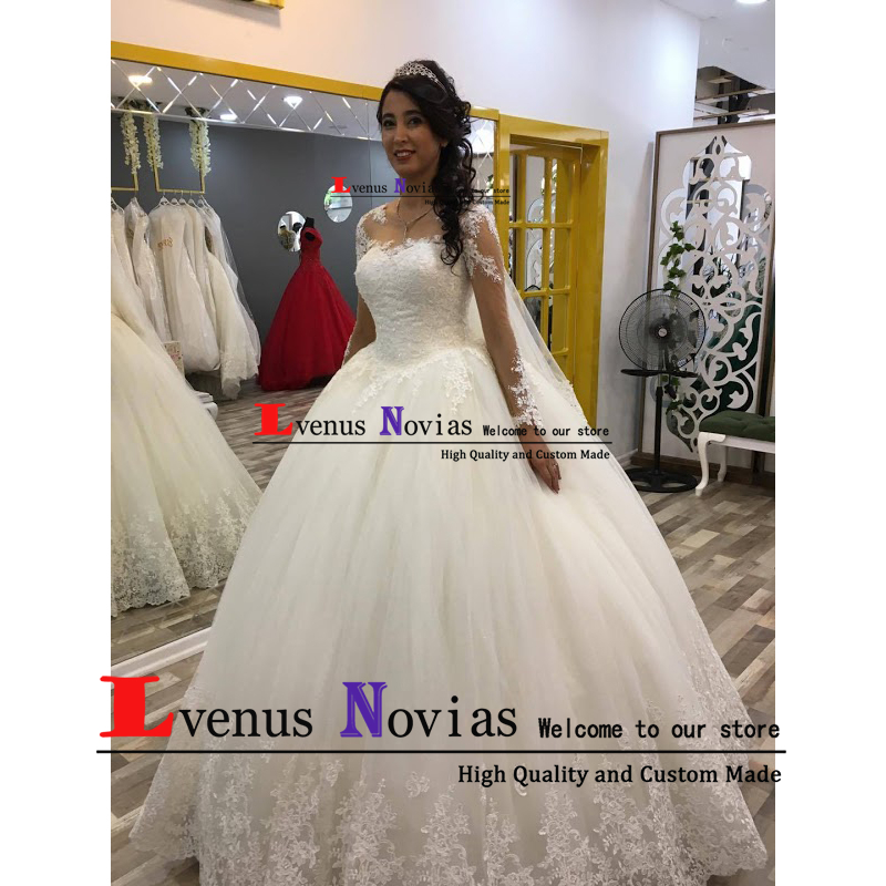 Robe De Mariee 2019 Wedding Gowns Beaded Lace Princess Long Sleeve Wedding Dresses Sexy Bridal Dress Vestido De Novia brautkleid