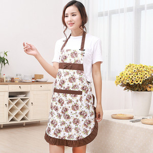 Image 3 - 1Pcs Bowknot Flower Pattern Apron Woman Adult Bibs Home Cooking Baking Coffee Shop Cleaning Aprons Kitchen Accessories 46002