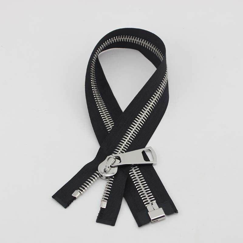 10pcs custom 50cm #15 black tape metal zipper top quality No15 big slider puller Closed-end zipper for jacket DIY bags accessory