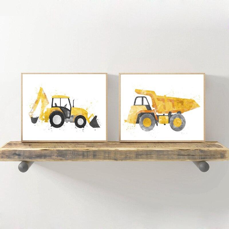 Conjunto de 4 impresiones//fotos con excavadoras para niños dormitorio//los vehículos de construcción