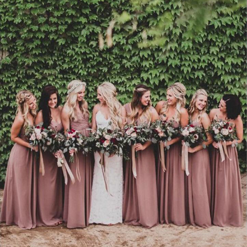 Dusty Rose Pink Bridesmaid Dresses Sweetheart Ruched Chiffon A-line Long Maid Of Honor Dresses Wedding Party Gown Plus Size
